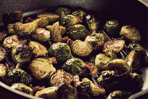 Glazed Brussels Sprouts with Apples and Prosciutto | The Olive Crush