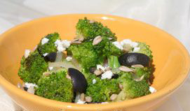 5-Minute Broccoli with Feta Cheese and Kalamata Olives Recipe